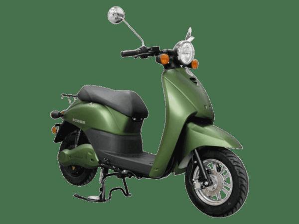 E2go električni skuter, zelene boje, desni poluprofil