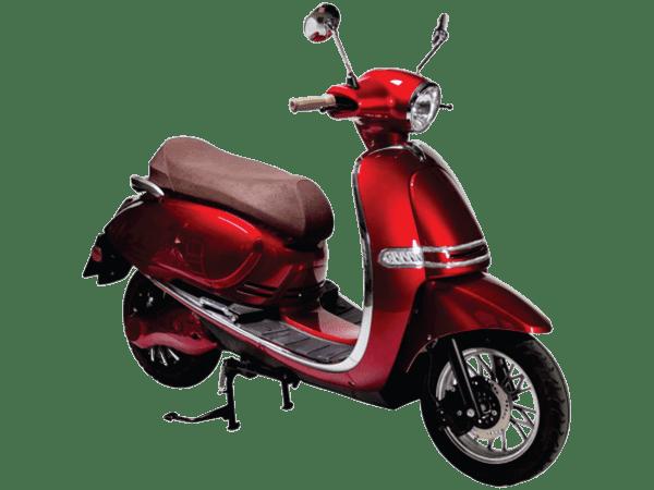 Pusa električni skuter, crvene boje, desni poluprofil