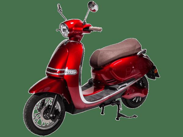 Pusa električni skuter, crvene boje, levi poluprofil